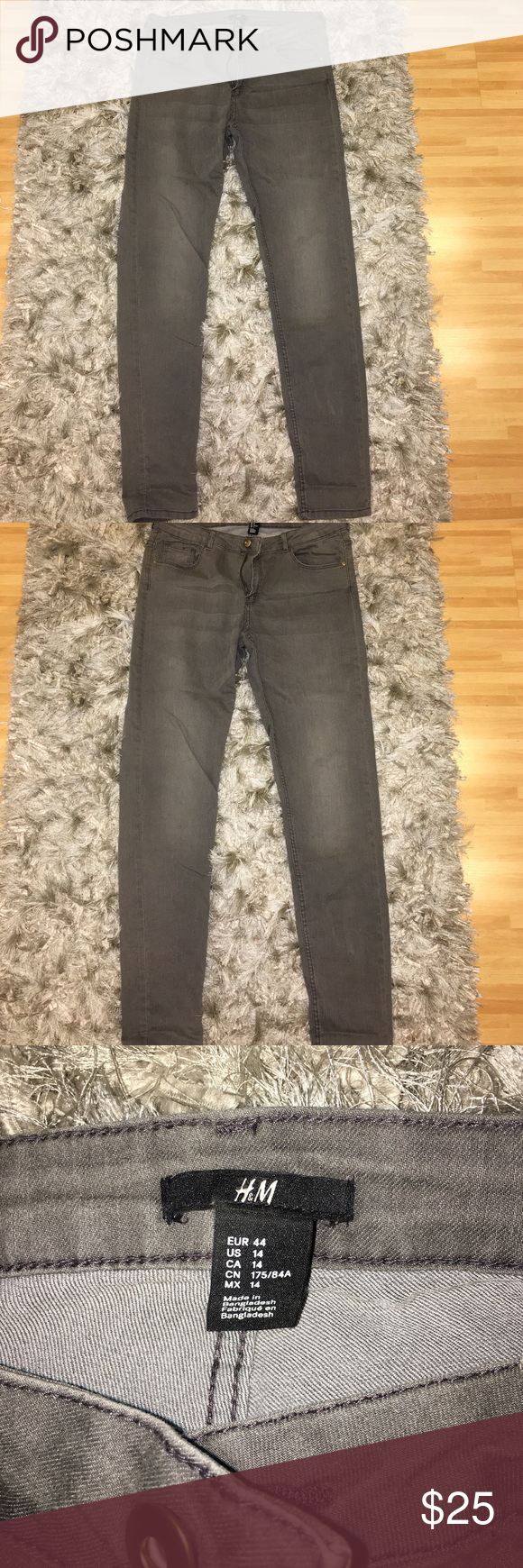 Stretchy 👖 Gray/Black stretchy jeans from H&M size 14.  Great condition owned by my sister who only wore them twice! Don't forget to bundle up for discounts and always taking offers to negotiate unless stated otherwise!! H&&M Pants