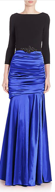Theia Belted Ruched Gown