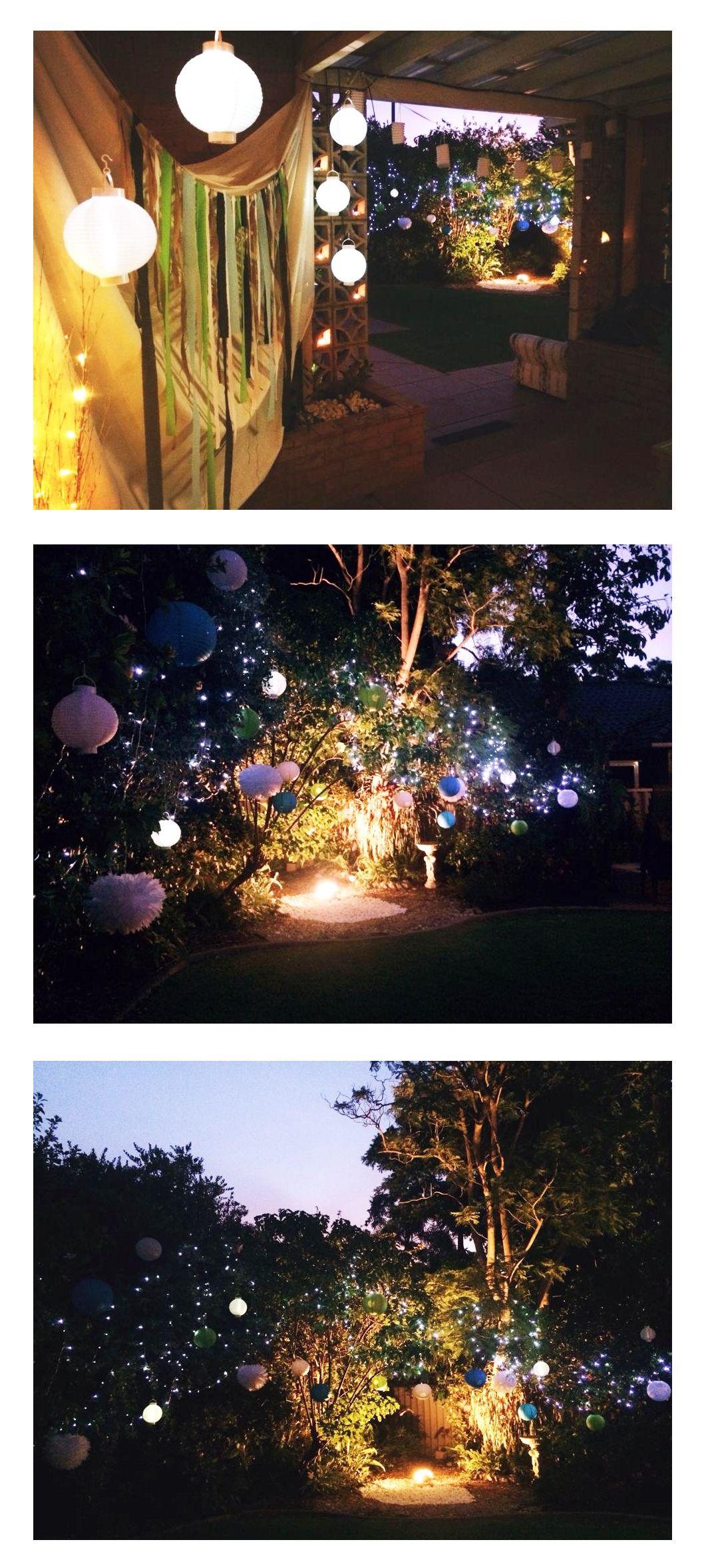 My 21st Birthday, Decorations, Fairy Lights, Paper Lanterns, Flood Light, Backyard, Garden, Party, Night, Lights #21stbirthdaydecorations