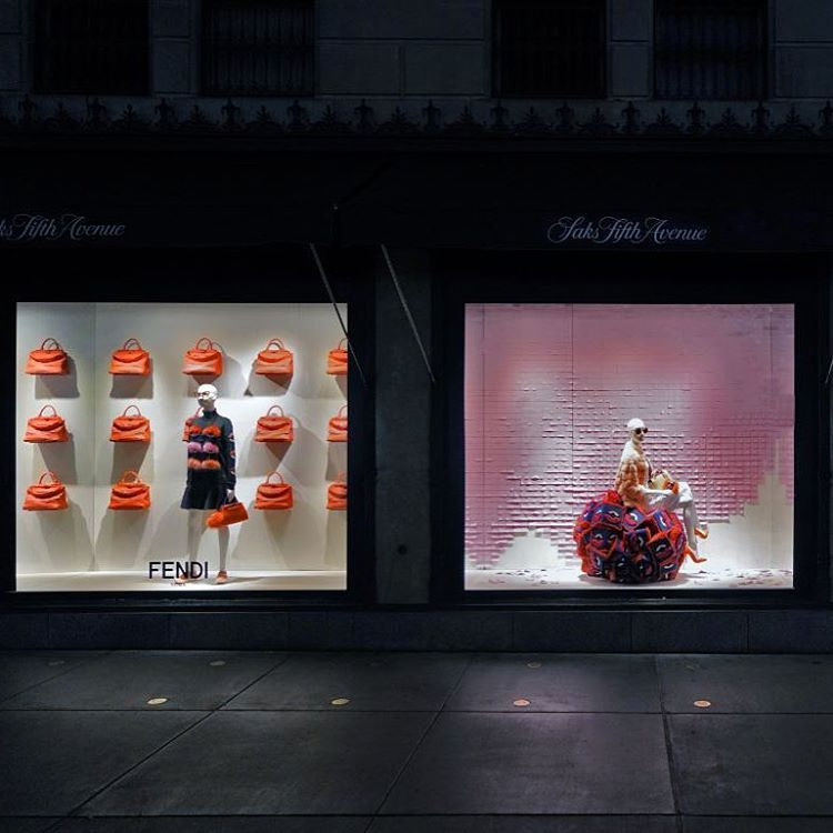"SAKS FIFTH AVENUE,New York, ""Strolling around Fifth Avenue will not be the same now that the FENDI A/W collection has invaded SAKS"", pinned by Ton van der Veer"