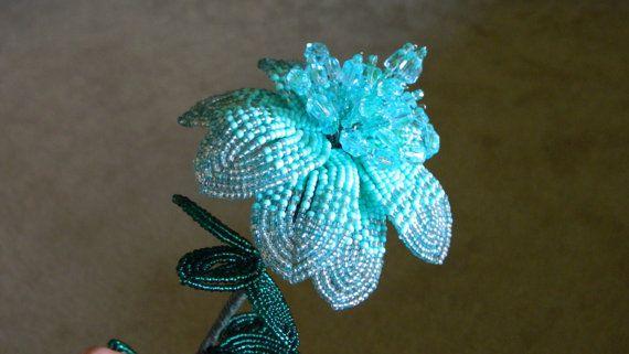 mint french beaded flower bead flower tree pinterest. Black Bedroom Furniture Sets. Home Design Ideas