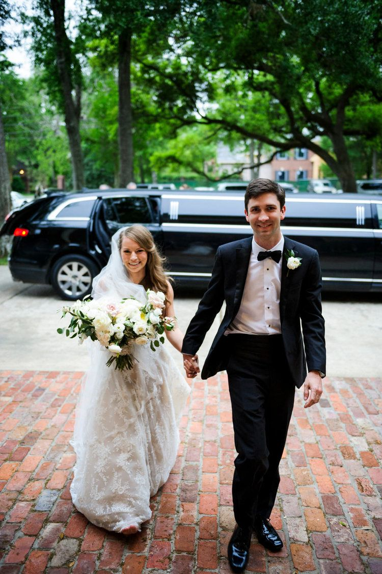 Bride And Groom Entering The Reception Blush White And Green Bouquets In A Lush Garden Style Houston Houston Wedding Brides And Bridesmaids Wedding Planner