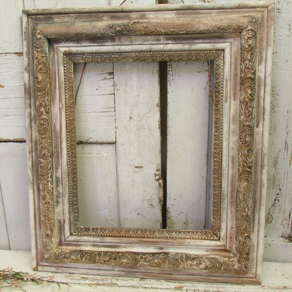 distressed frame large farmhouse wood and gesso antique wall hanging painted time worn wall hanging home - Distressed Picture Frames