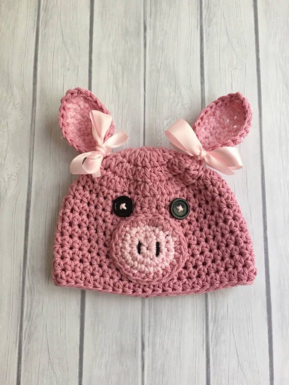 Crochet Pig Hat Pink Pig Hat Baby Pig Hat Crochet Cocoon Baby Hat