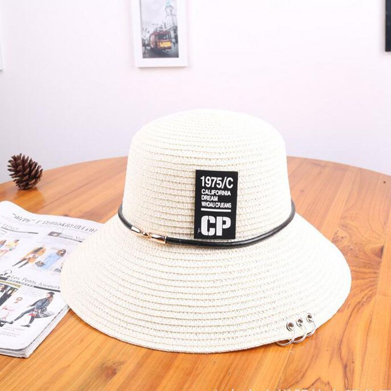 2017 The newest Personalized Ring letters sun hat Summer Women Foldable Straw Caps Beach Visor Caps 5 Colorsin Sun Hats from Womens Clothing