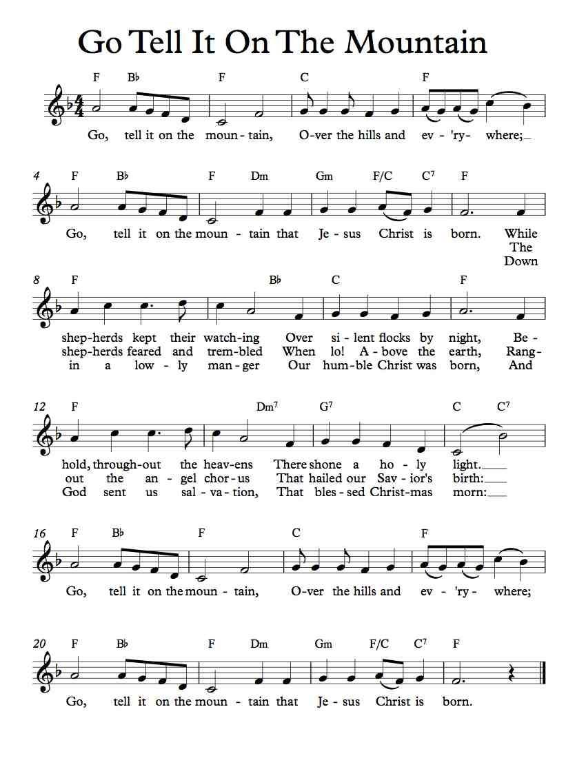 Free Sheet Music - Free Lead Sheet - Go Tell It On The Mountain - African  American Spiritual