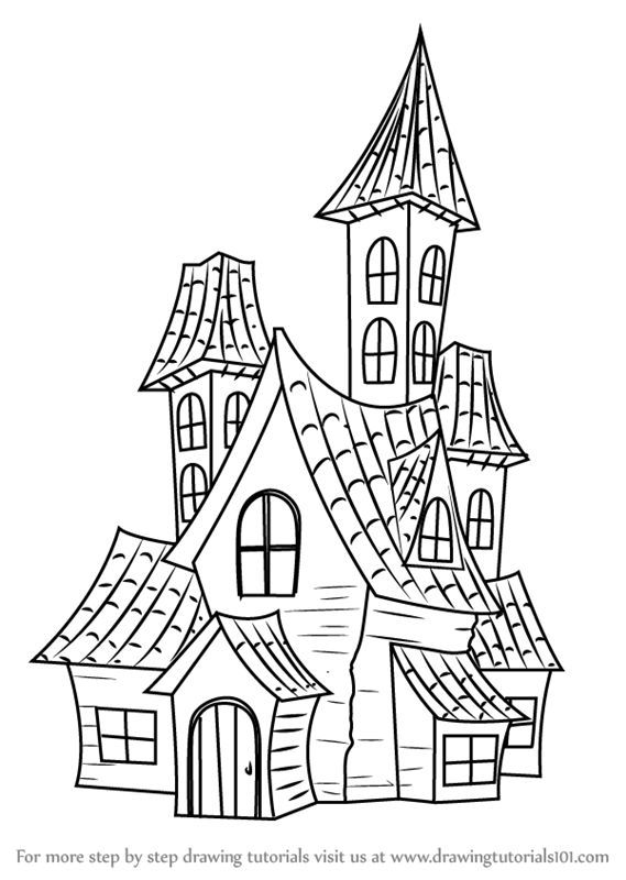 Learn How To Draw A Spooky Haunted House Halloween Step By Step Drawing Tutorials Haunted House Drawing House Doodle Drawing Tutorial