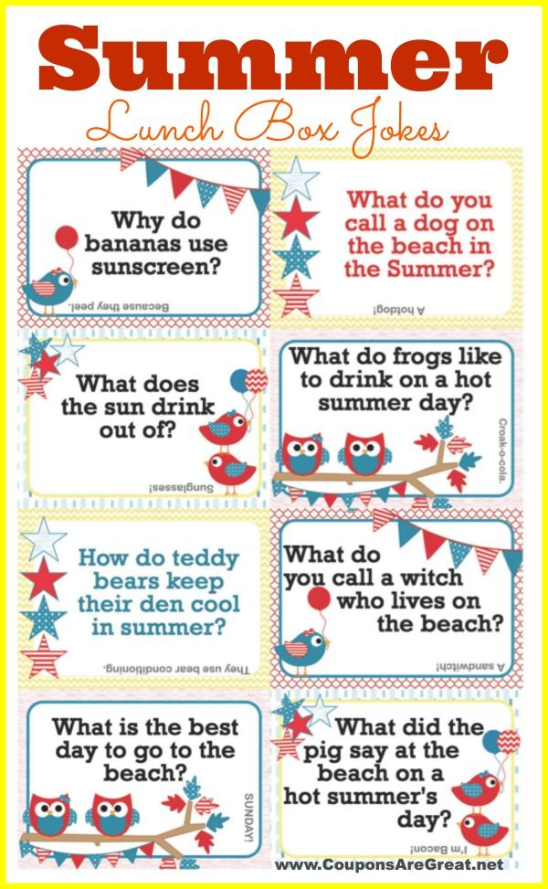 Printable Summer Lunch Box Notes Using Summer Jokes for