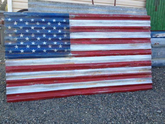 ccdaf4a65824 Rustic Corrugated Metal American Flag 6 foot by FordCountry