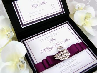 Stunning Couture Wedding Invitation Arrives In A Black Satin Box With Czech Crystal Swan Broach Talk About Wow Factor