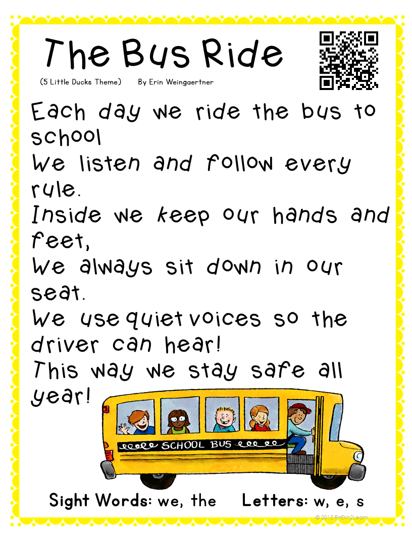 Poetry Kindergarten Shared Reading Free Bus safety