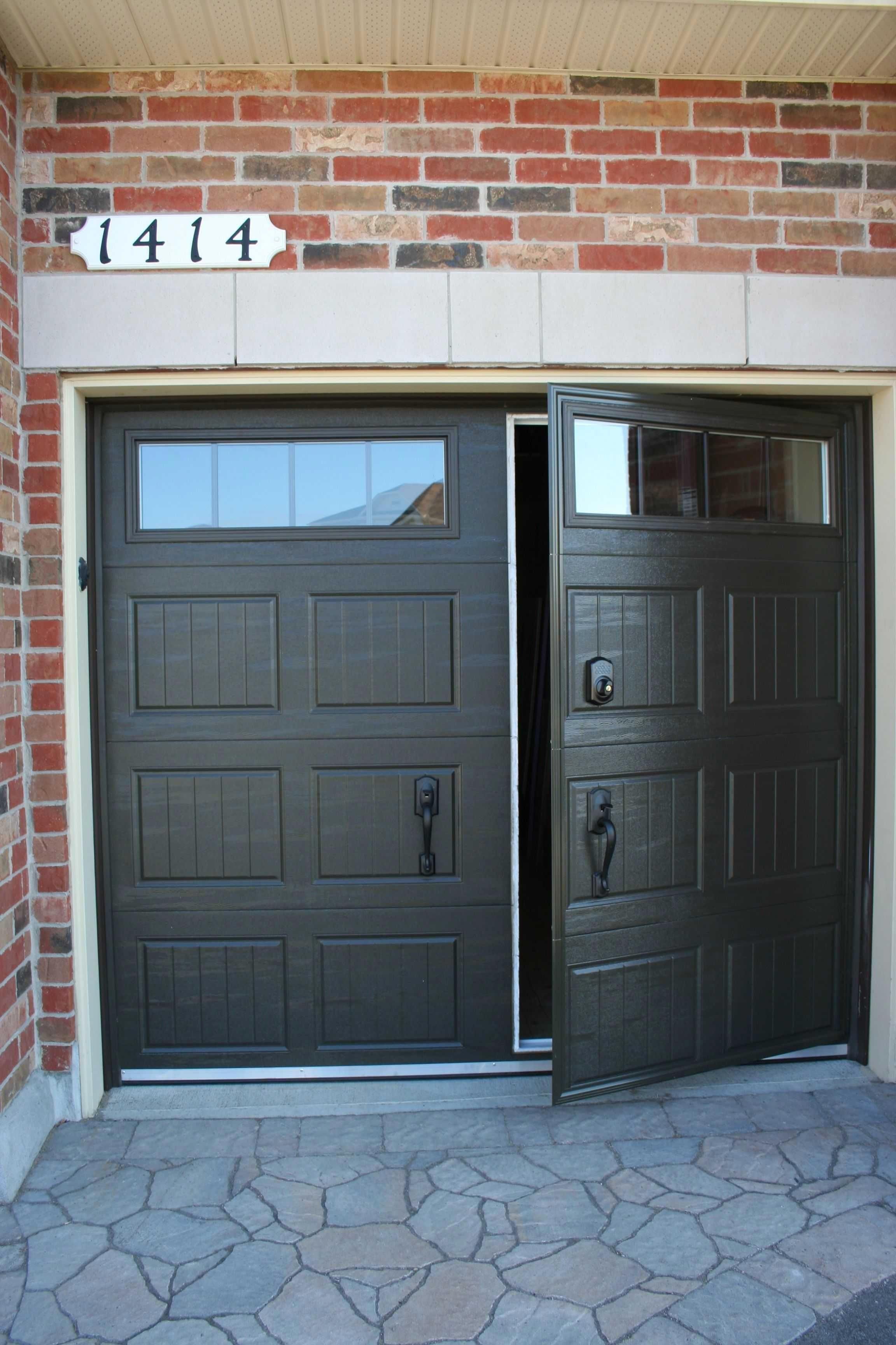 Black Garage Doors With Long Windows Garage Doors Garage Door Colors Garage Door Design
