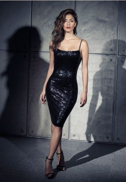 Tight Black Sequin New Years Sweetheart Dress For 2015