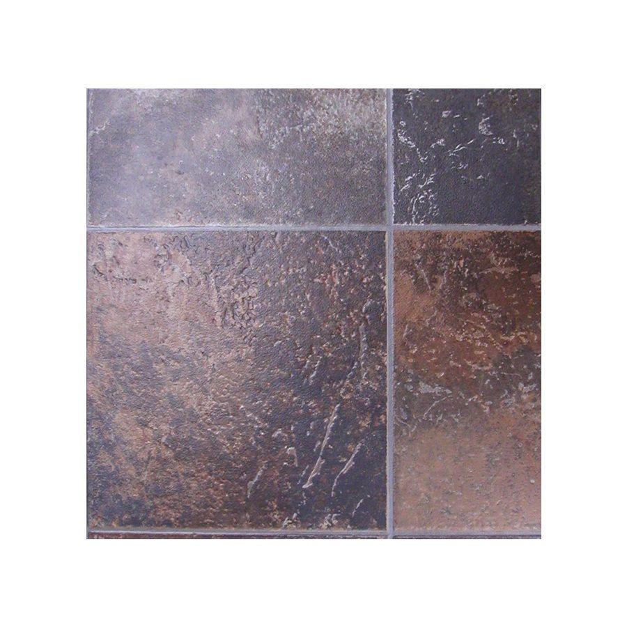 Tarkett 12 Ft W Rust Tile Low Gloss Finish Sheet Vinyl Bathroom Organization Furnishings