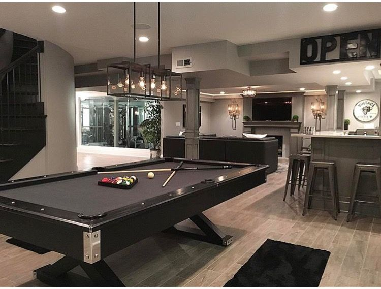 Pin By Lowell Zimmer On Game Room Modern Basement Pool Table