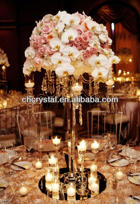 Flower Bowl Top Crystal Candelabras Crystals Table Wedding