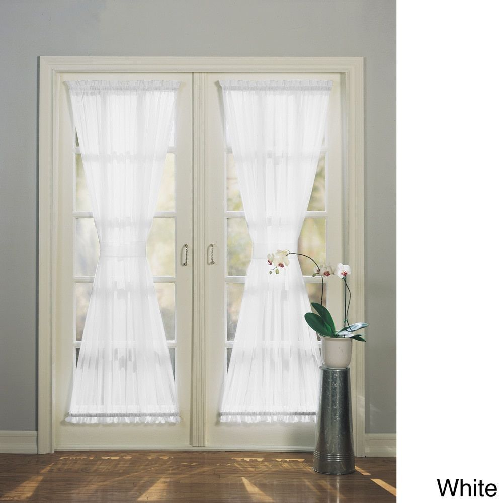 No 918 emily sheer voile single solid colored patio door for Patio doors with side panels