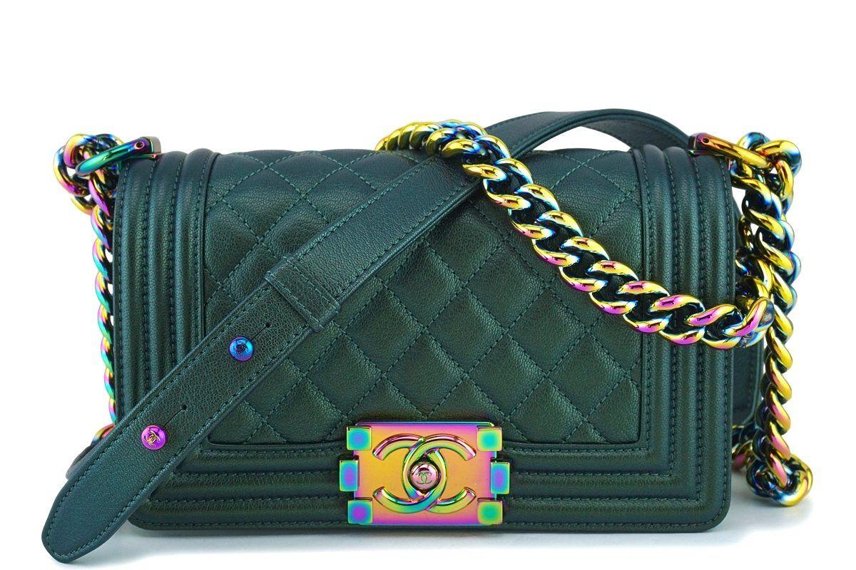 1c502d09583a4 16C Chanel Iridescent Emerald Green Small Boy Classic Flap Bag Rainbow HW