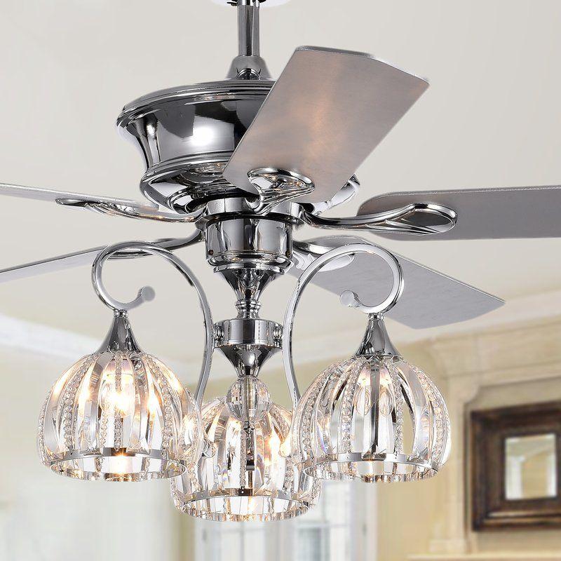 52 Daugherty 5 Blade Ceiling Fan With Light Kit Included Ceiling Fan Chandelier Chrome Ceiling Fan Ceiling Fan
