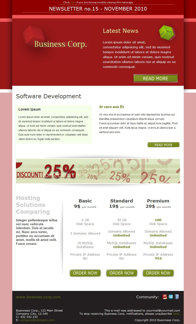 Business Corp Newsletter Email Template Corp Business