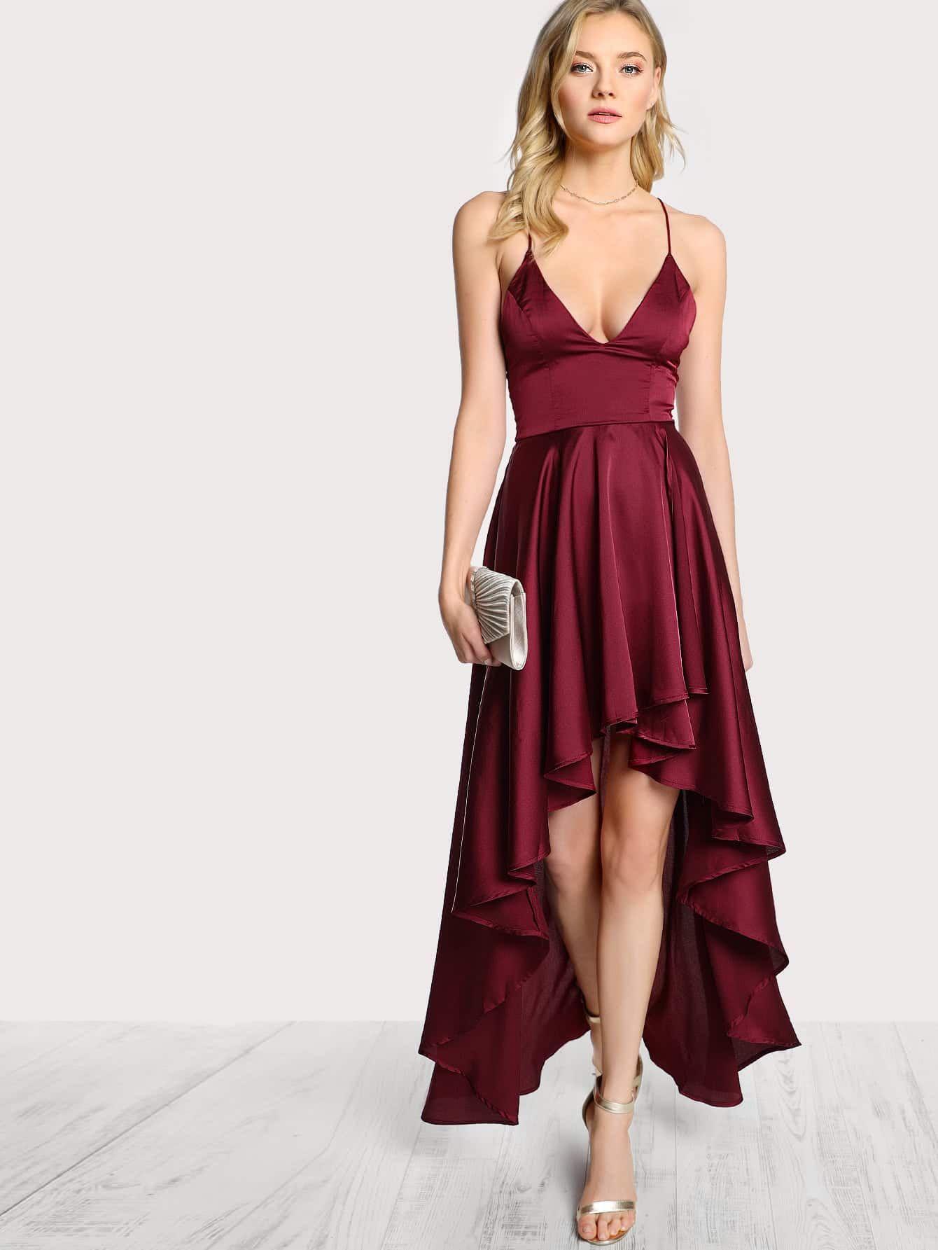 Crisscross back plunging high low cami dress stylish