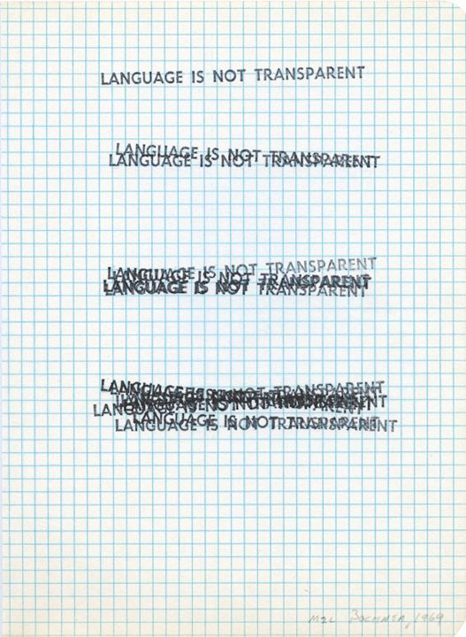 LANGUAGE IS NOT TRANSPARENT, 1969 Rubber stamp on graph paper - graph paper word