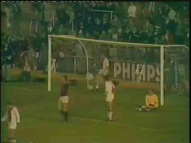 AC Milan 4 Ajax 1 in 1969 in Madrid. Pierino Prato scores for Milan in the European Cup Final.