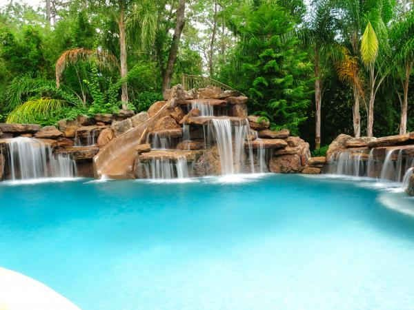 Waterfalls Rock And Slide Swimming Pool Prices Luxury Swimming Pools Swimming Pool Designs
