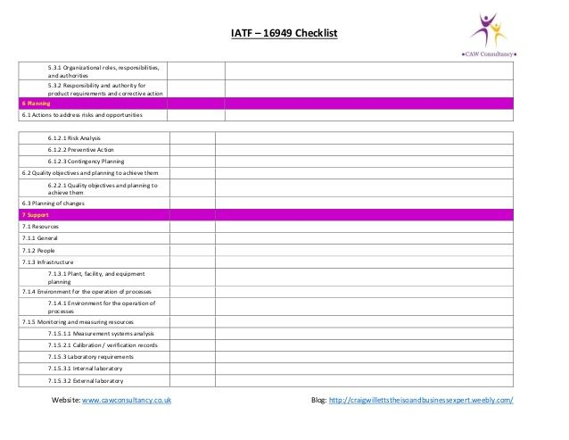 IATF 16949 gap assessment checklist iatf checklist Pinterest - sample it risk assessment