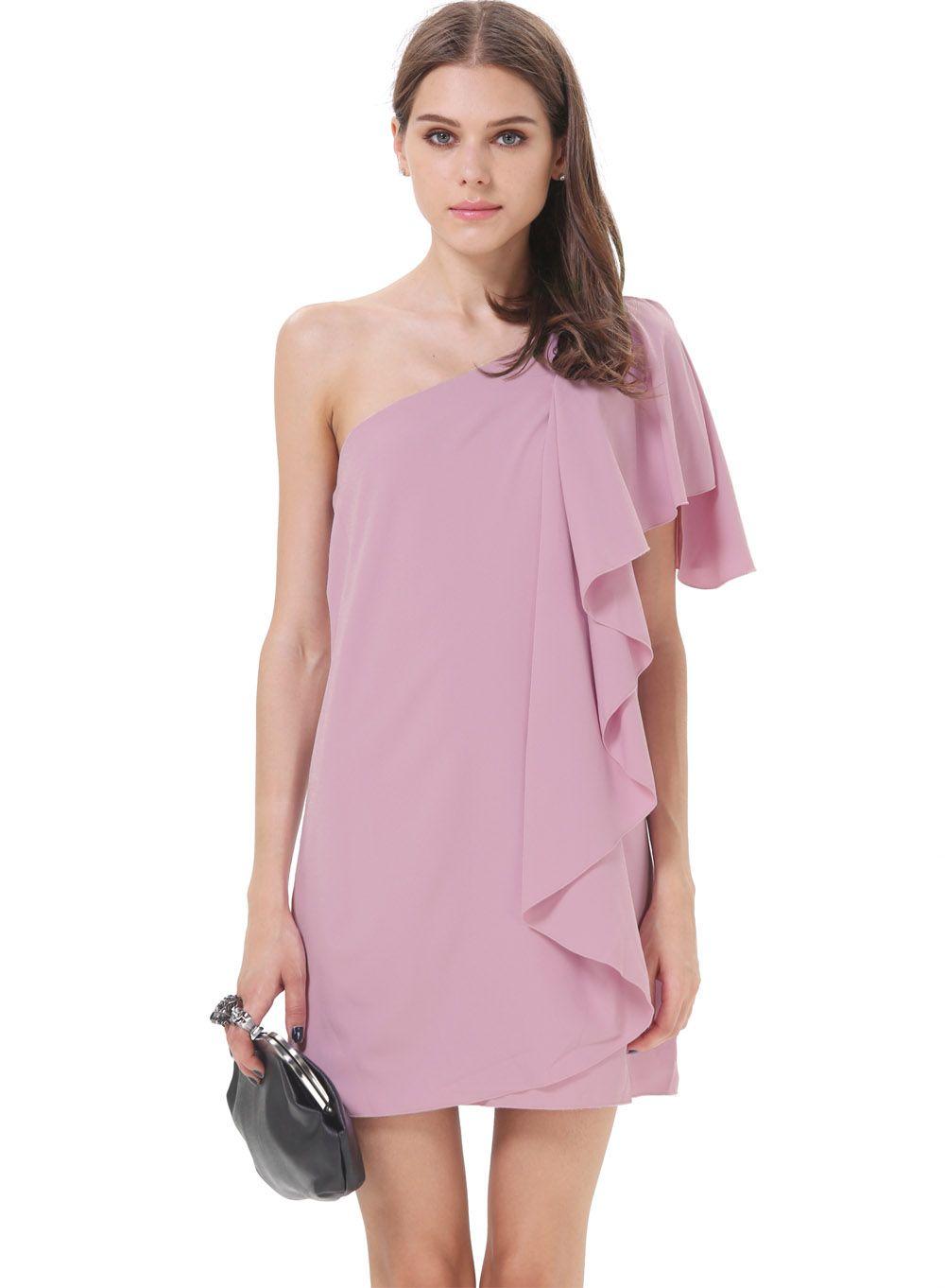 Vestido asimétrico volante hombro solo-violeta EUR€16.56 | Ropa ...