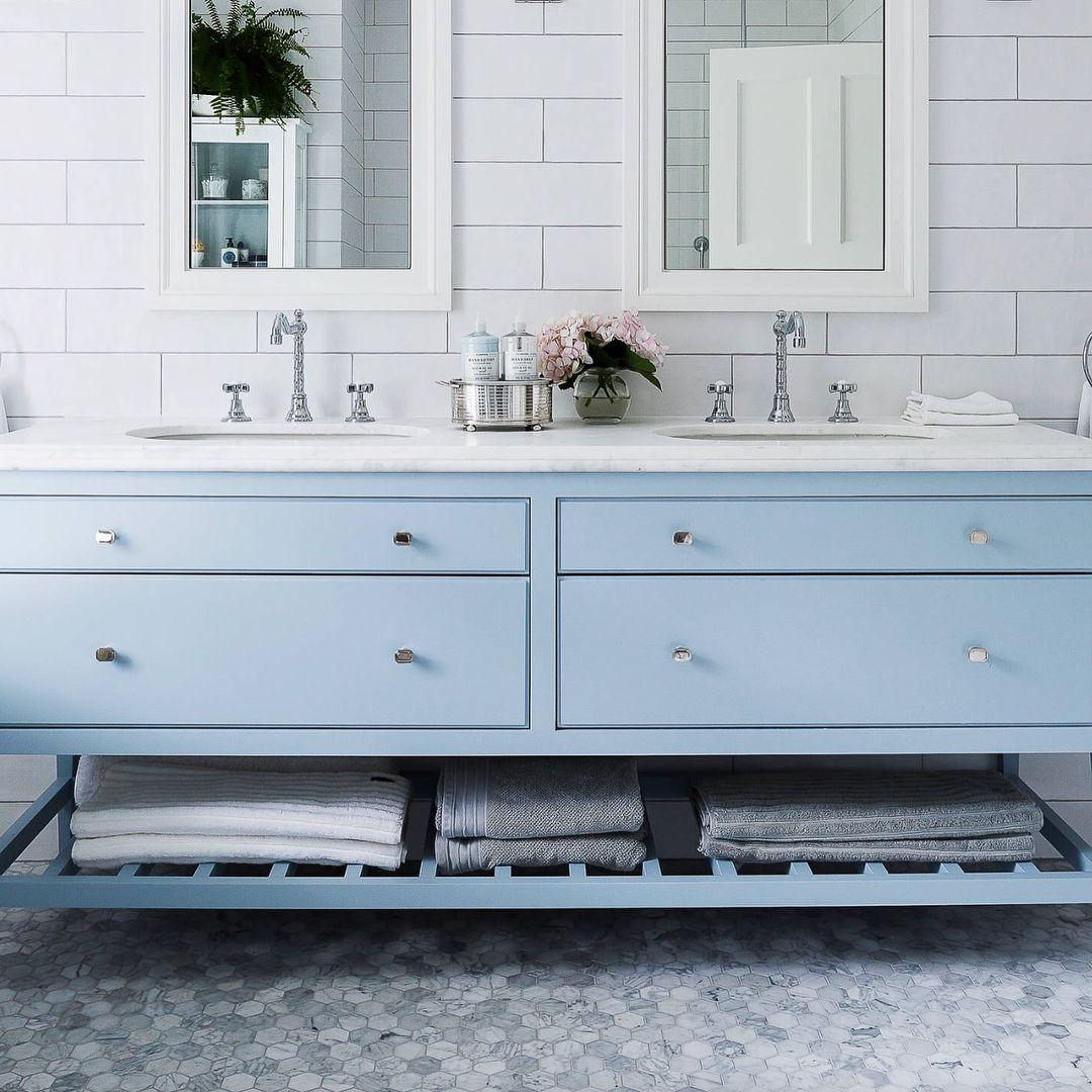 Design Tiles Sydney On Instagram Carrara Hexagon 70mm 100x300 White Matt Subway And A Baby Blue Vanity Woowwww Blue Vanity Tiles Vanity