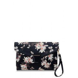 Stylish Floral Print and Metal Design Women's Clutch Bag
