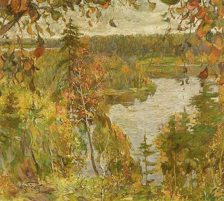 BRODSKY, ISAAK IZRAILOVICH (Sofjevka 1884 - 1939 Leningrad) Autumn river landscape.Oil on canvas. Signed lower left in Cyrillic