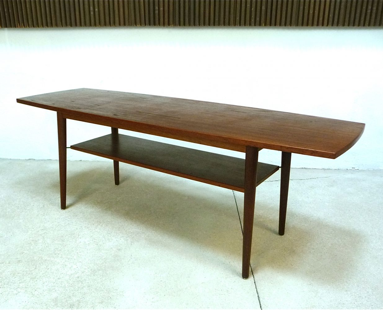 For Sale Large Danish Boat Shaped Table Top Teak Coffee Table 1960s