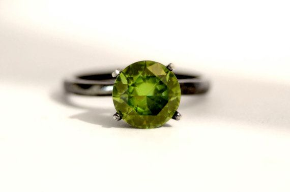 Peridot Tiffany Set Ring with 8mm Stone and by abishessentials, $79.89