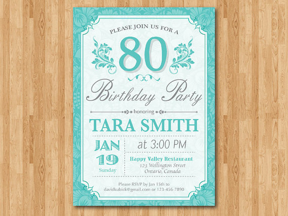 80th Birthday Invitation for women Purple, Blue, any color Adult birthday party 70th 80th