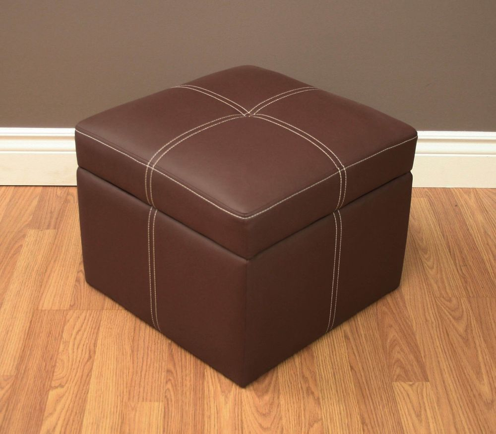 Cheap Footstools With Storage Home Square Ottoman Sofa Seat Bench Chair Furniture Brown Storage