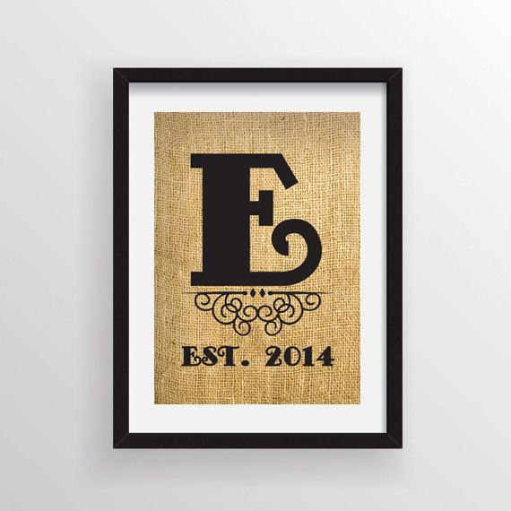 8 x 10 Large Monogrammed Rustic Burlap Print Wall by Cloud9Craftss, $15.00