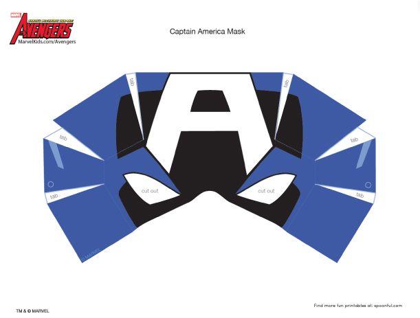 captain america masks paper template