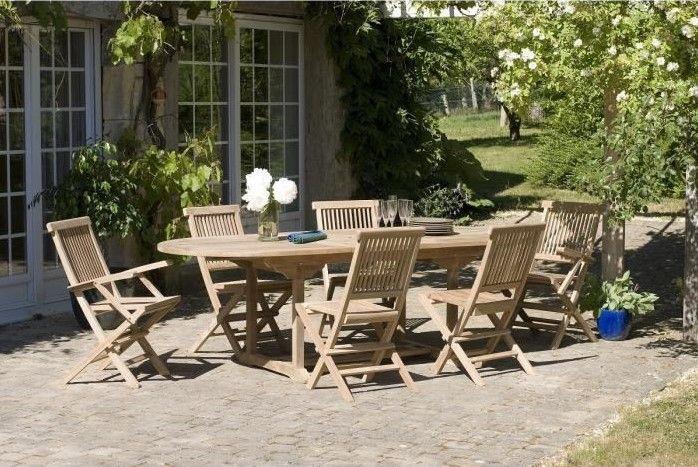 AVA Ensemble en teck table ovale extensible de jardin pas ...