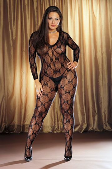 "Bordeaux Plus Size Bodystocking $10.50 - Hips to 56"" Bust to 54"""