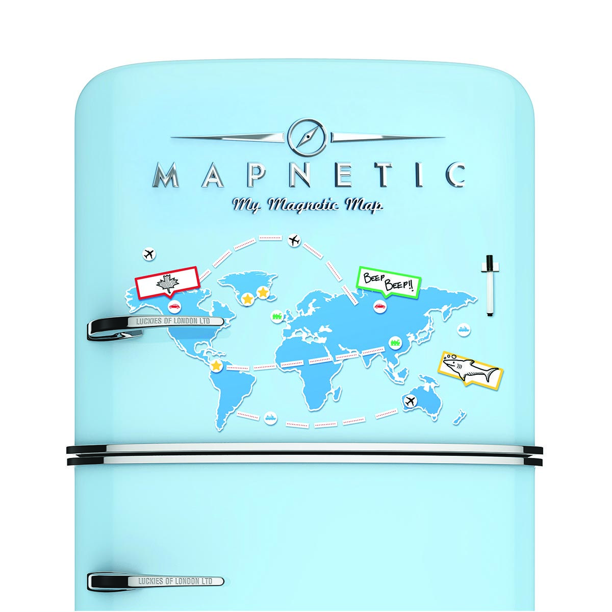 Add a lil\' zing to your fridge with this world map magnet! | Map ...