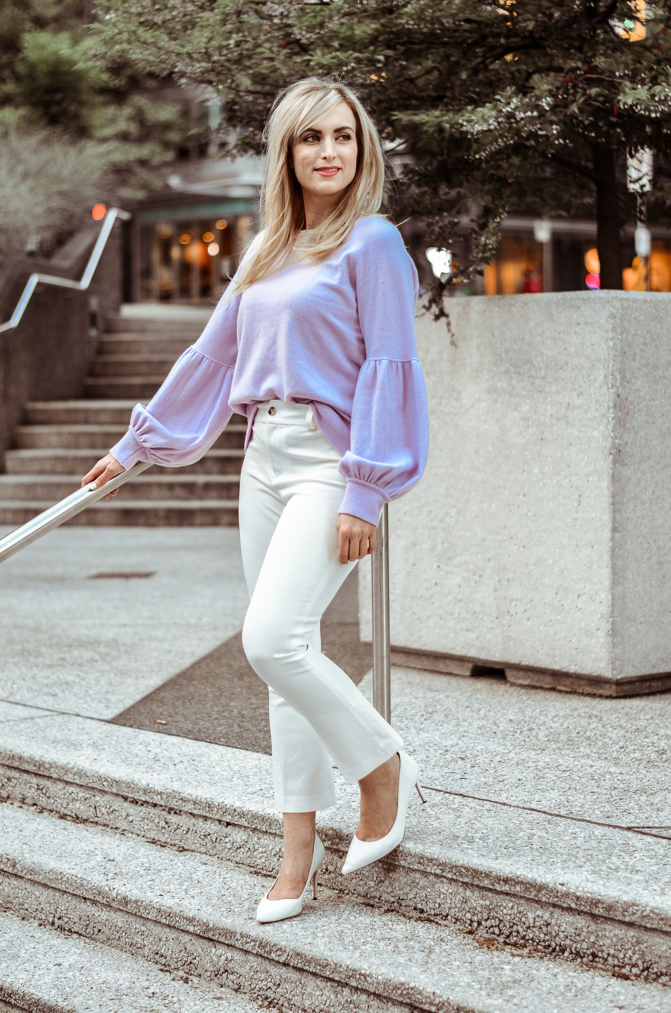 Fashion Blogger Legallee Blonde Wearing White Capri Pants And Lilac Cashmere Sweater Summer Work Outfits Summer Work Wear Fashion Clothes Women [ 2048 x 1356 Pixel ]