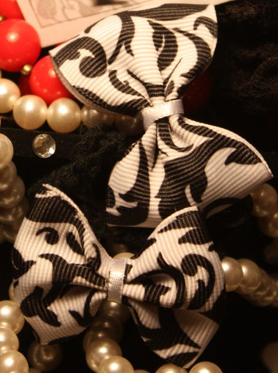 Two 15 Mini Black & White Rococo Hair Bow Clips by Dolldotjpg, $4.99