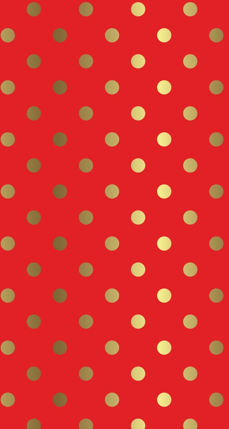 Red Iphone Background With Gold Dots Christmas And Holiday Free Wallpaper For
