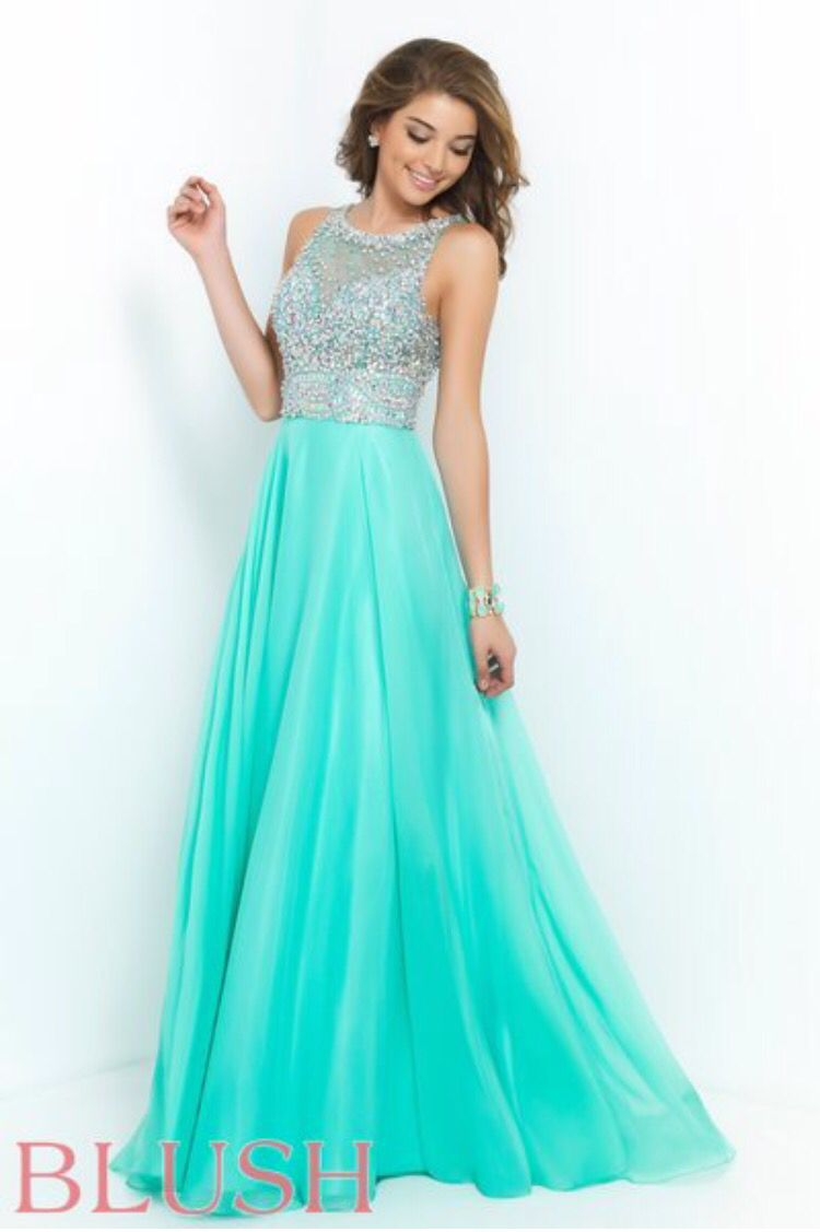 Greenish- Blue, High Neckline w/ Beading - Blush | Prom | Pinterest