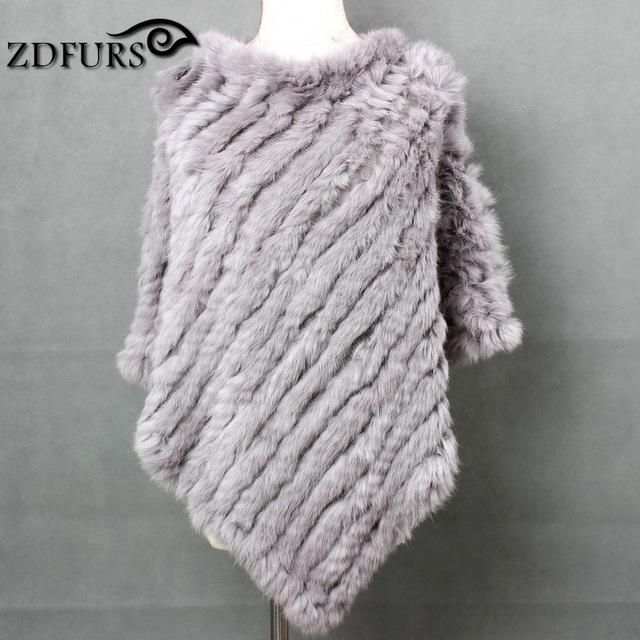 2338ca00a ZDFURS * Winter Ladies' Genuine 100% Real Knitted Rabbit Fur Poncho Women  Fur Pashmina Wrap Female Party Pullover ZDKR-165001
