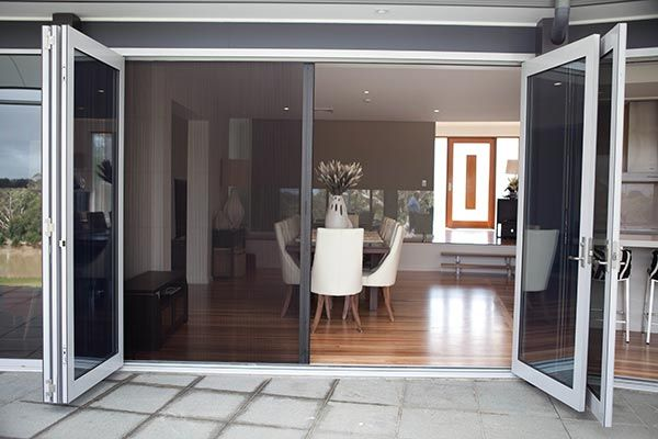 Possible Insect Screen Solution For Living Room We Would Like Frameless Concertina Doors Though This I French Doors With Screens Home Retractable Screen Door
