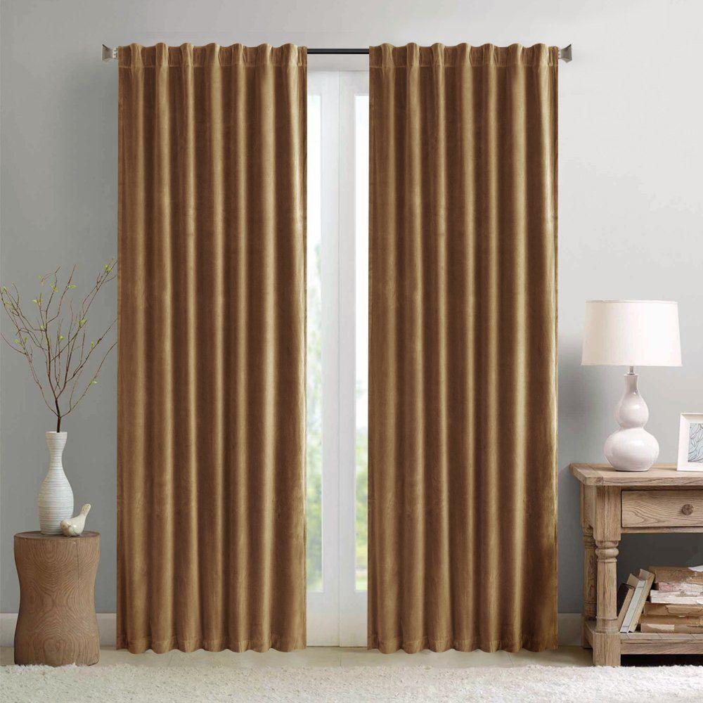 Room darkening velvet curtains for living room inches long