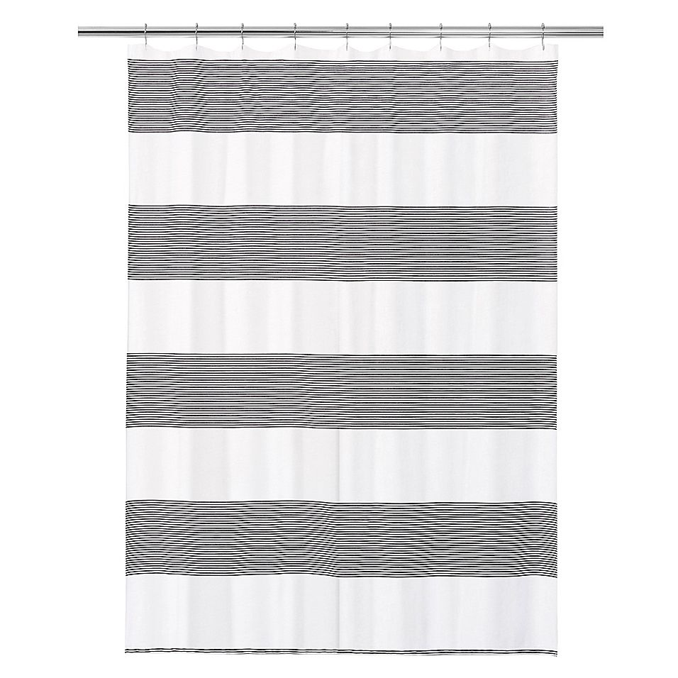 Calvin Klein Donald Shower Curtain In White Black Shower Curtain